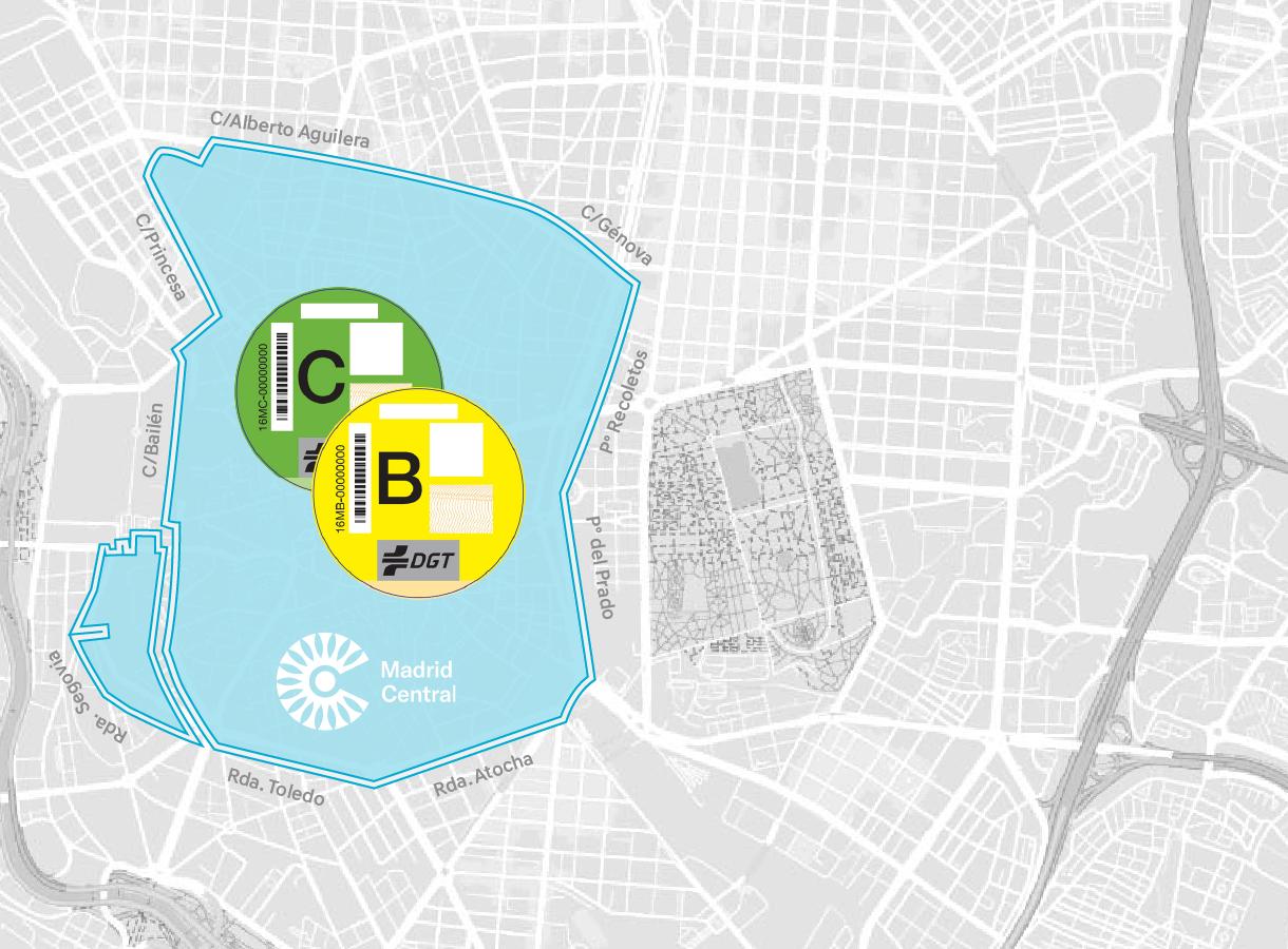Mapa de Madrid Etiqueta B